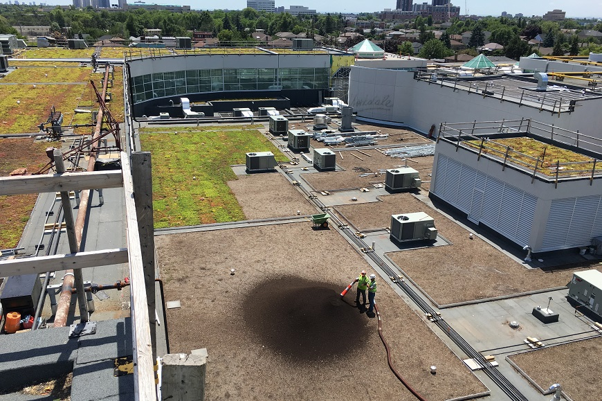 Applying Soil on the Roof of Yorkdale Mall