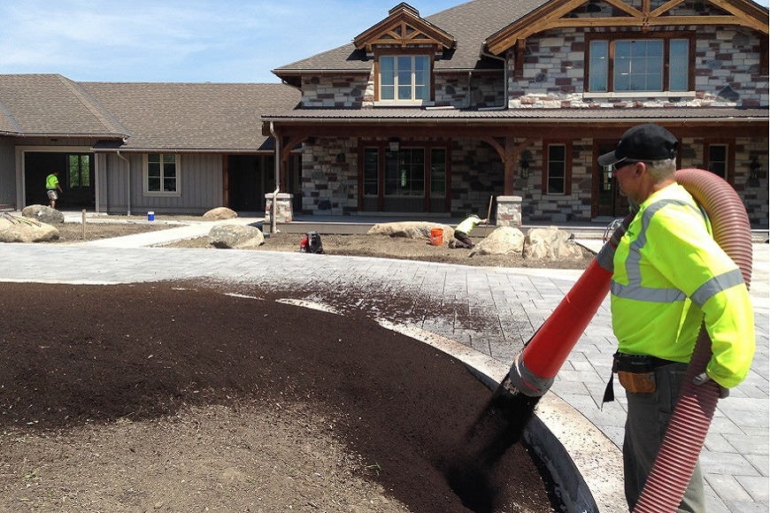 Blower Truck Soil Application at Commercial Property in Niagara