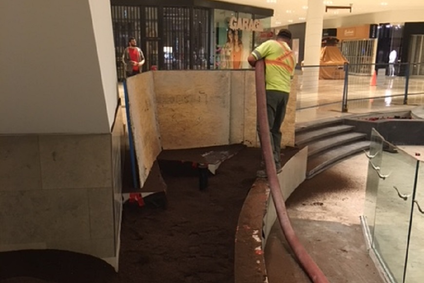 Applying Soil for a Garden in a Mall